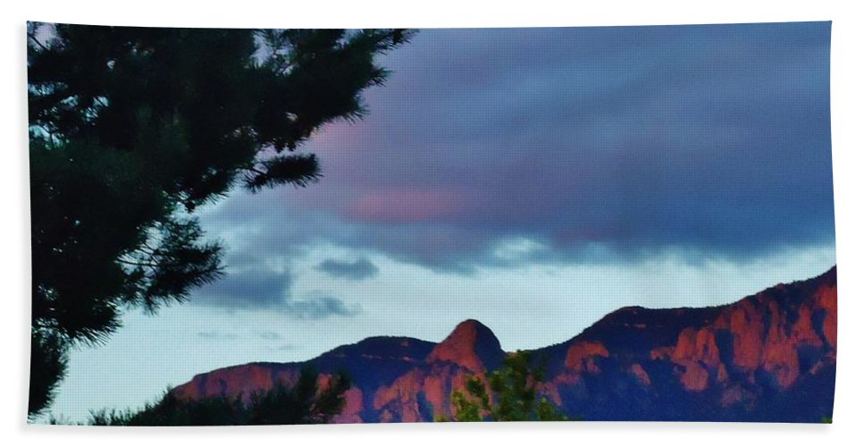 Mountains Bath Sheet featuring the photograph Sandia Mountains At Sunset by Lois  Rivera