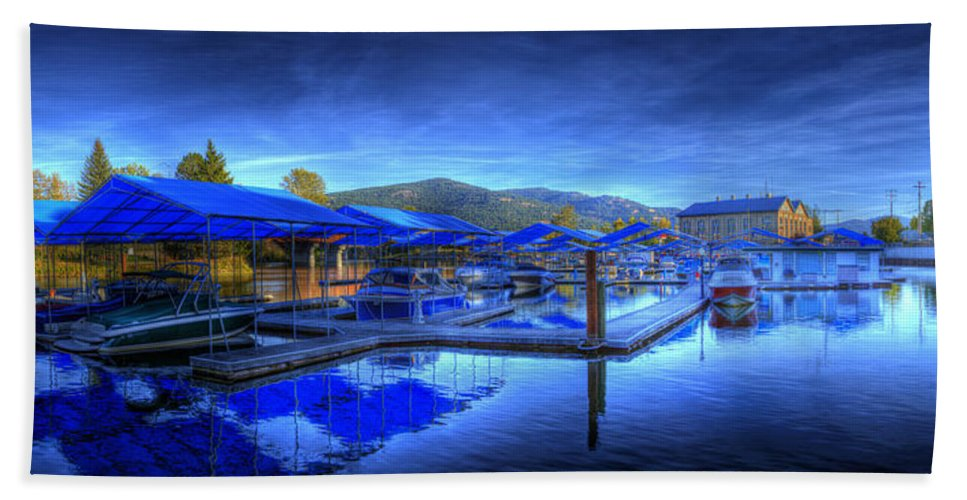 Scenic. Landscape Hand Towel featuring the photograph Sandpoint Marina And Power House 1 by Lee Santa
