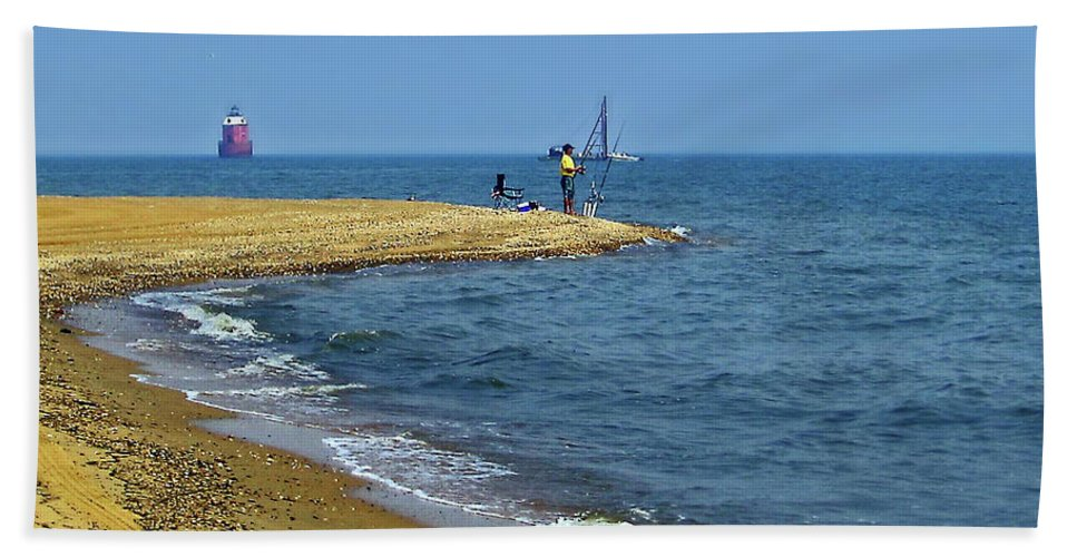 2d Bath Sheet featuring the photograph Sandy Point Fisherman by Brian Wallace