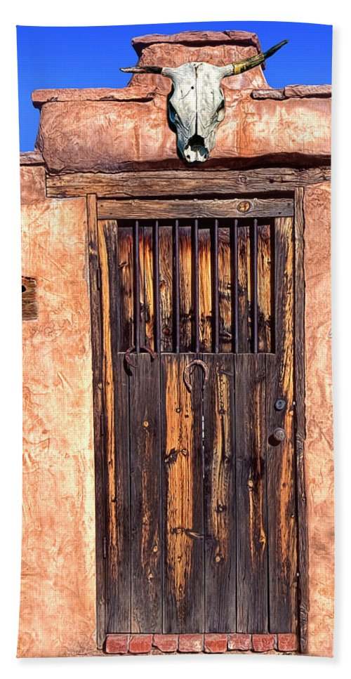 Santa Fe Bath Sheet featuring the photograph Santa Fe Door by Dave Mills