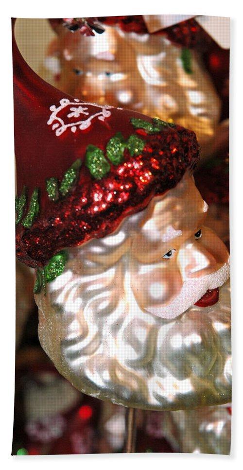 Usa Bath Sheet featuring the photograph Santa Glass Ornament by LeeAnn McLaneGoetz McLaneGoetzStudioLLCcom
