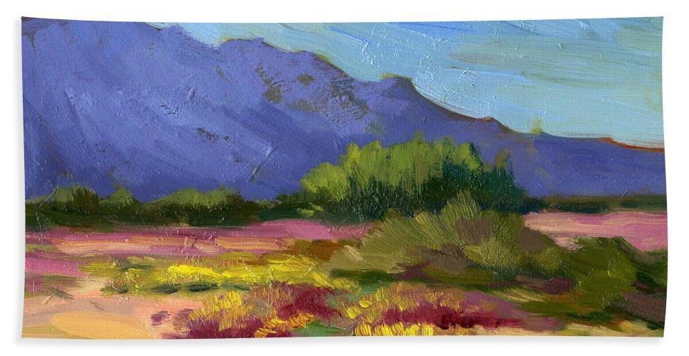 Santa Rosa Mountains Bath Sheet featuring the painting Santa Rosa Mountains In Spring by Diane McClary
