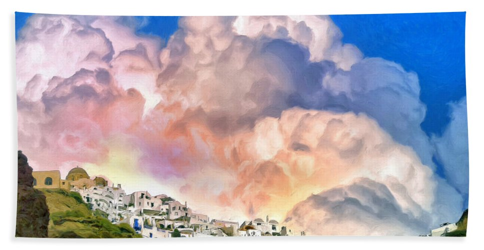 Sunrise Hand Towel featuring the painting Santorini Sunrise by Dominic Piperata