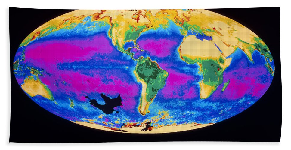 Biosphere Hand Towel featuring the photograph Satellite Image Of The Earths Biosphere by Dr. Gene Feldman, NASA Goddard Space Flight Center