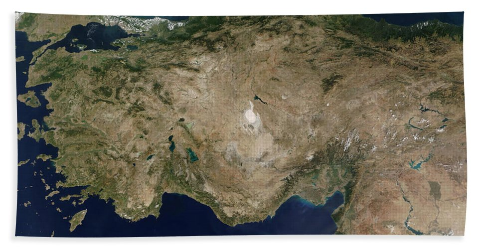 Peninsula Bath Sheet featuring the photograph Satellite View Of Turkey And The Island by Stocktrek Images