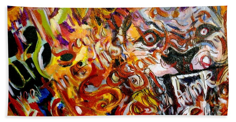 Lion Hand Towel featuring the painting Savannah Lions by Kate Fortin