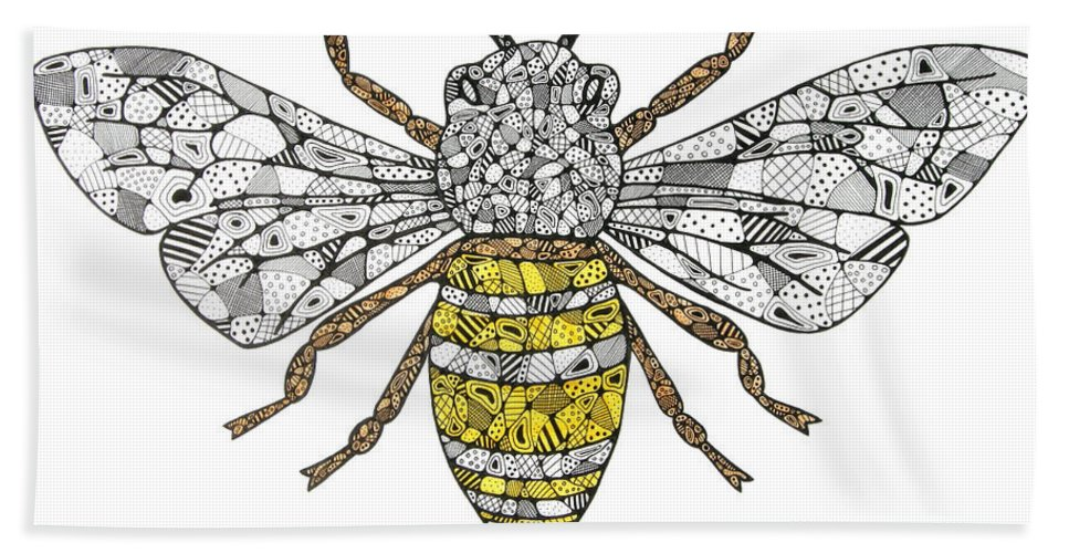 Bee Hand Towel featuring the drawing Save The Bees by Leanne Karlstrom