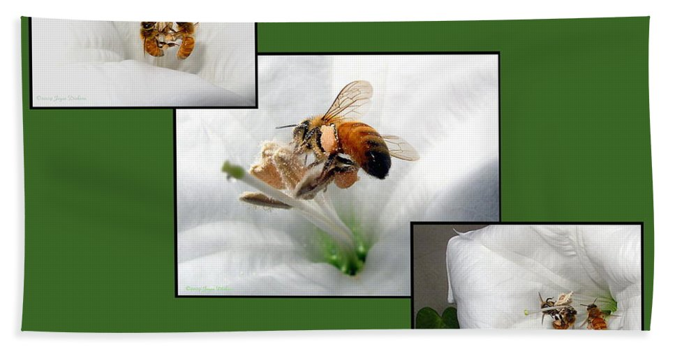 Bee Bath Sheet featuring the photograph Save The Bees Save The World by Joyce Dickens