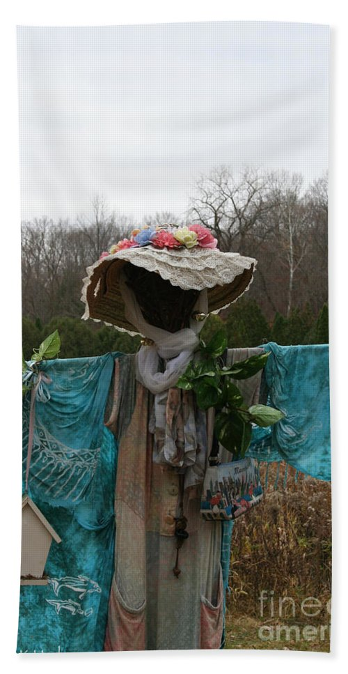 Outdoors Hand Towel featuring the photograph Scarecrow Garden Art by Susan Herber
