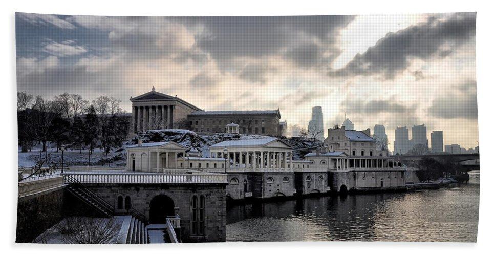 Scenic Bath Sheet featuring the photograph Scenic Philadelphia Winter by Bill Cannon