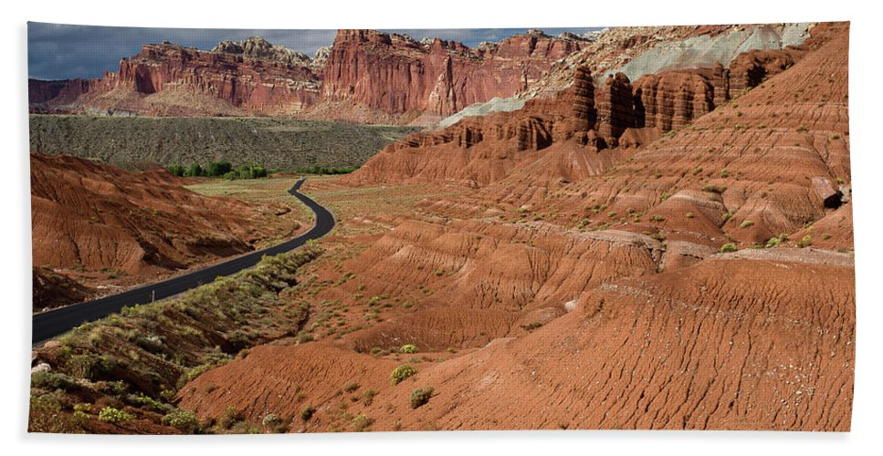 Capitol Reef Bath Sheet featuring the photograph Scenic Road 1 by Greg Nyquist