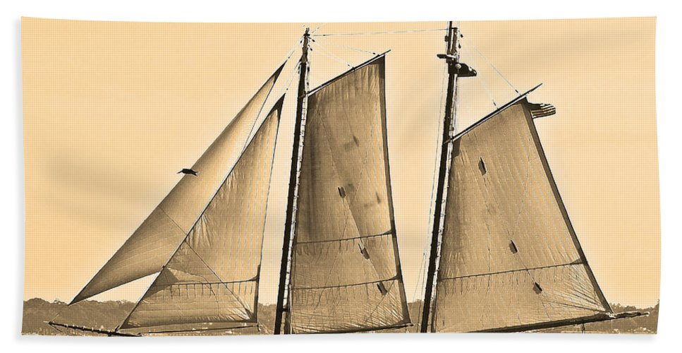 Boat Bath Sheet featuring the photograph Scenic Schooner - Sepia by Al Powell Photography USA