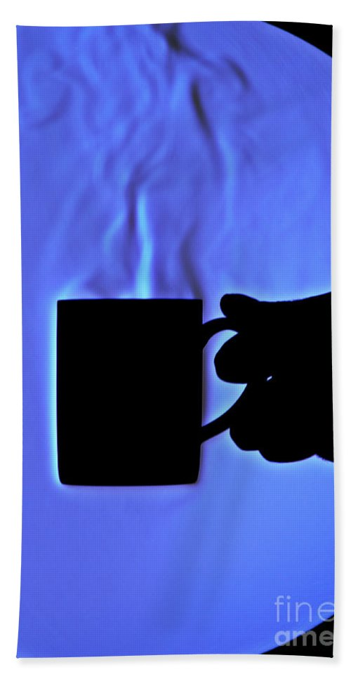 Schlieren Hand Towel featuring the photograph Schlieren Image Of Hot Coffee Cup by Ted Kinsman