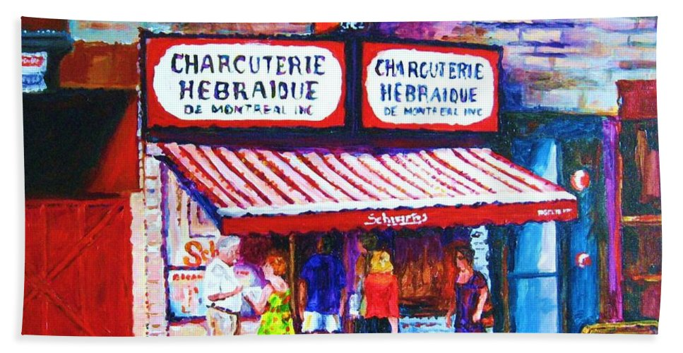 Cityscene Bath Towel featuring the painting Schwartz's Deli With Lady In Green Dress by Carole Spandau