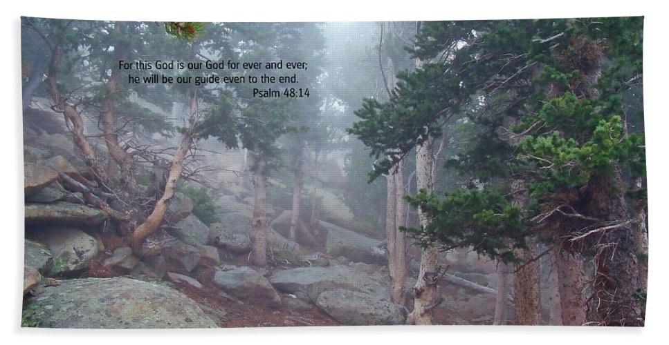 Scripture And Picture Psalm 48:14 Hand Towel featuring the photograph Scripture And Picture Psalm 48 14 by Ken Smith