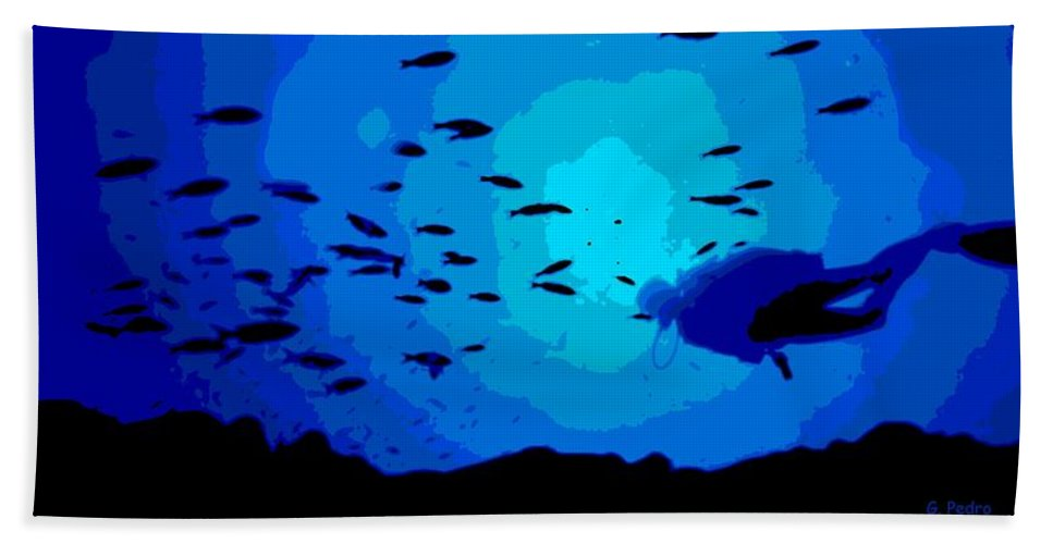 Scuba Hand Towel featuring the photograph Scuba Dive by George Pedro