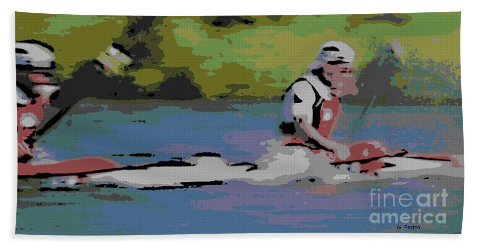 Lightweight Bath Sheet featuring the photograph Sculling For The Win by George Pedro