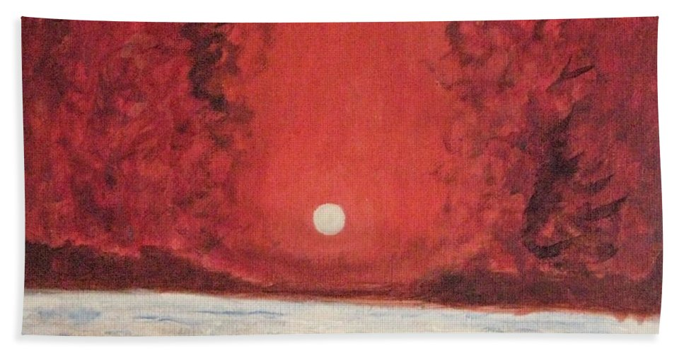 Reflection Of Moon Bath Sheet featuring the painting Sea And Moon by Sonali Gangane