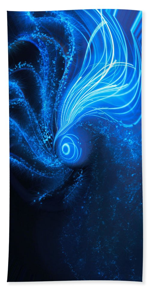 Sea At Night Bath Sheet featuring the digital art Sea At Night by Linda Sannuti