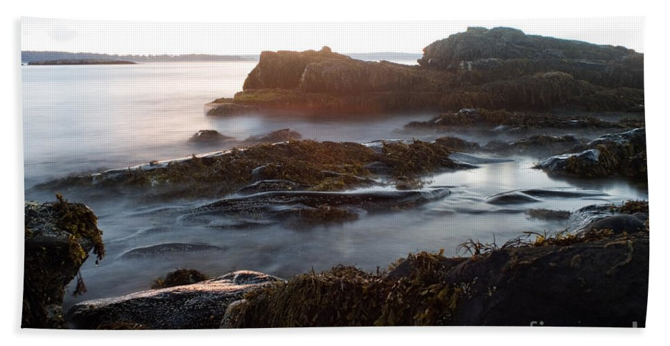 Storm Hand Towel featuring the photograph Sea At Sunset by Ted Kinsman