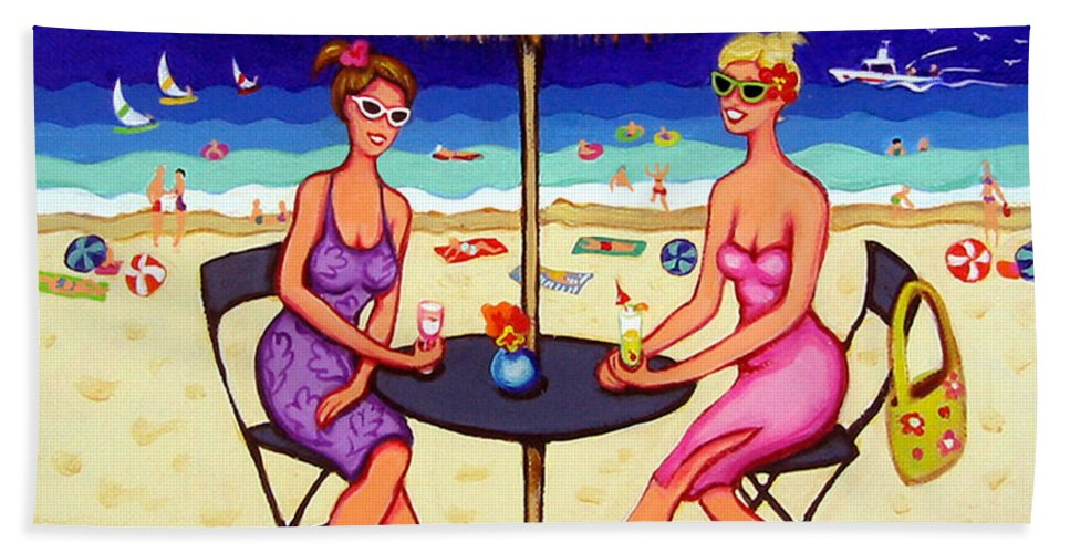 Girlfriends At Beach Bath Sheet featuring the painting Sea For Two - Girlfriends At Beach by Rebecca Korpita