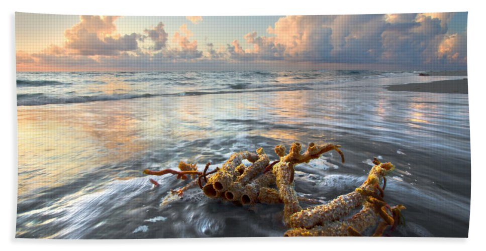 Clouds Hand Towel featuring the photograph Sea Jewel by Debra and Dave Vanderlaan