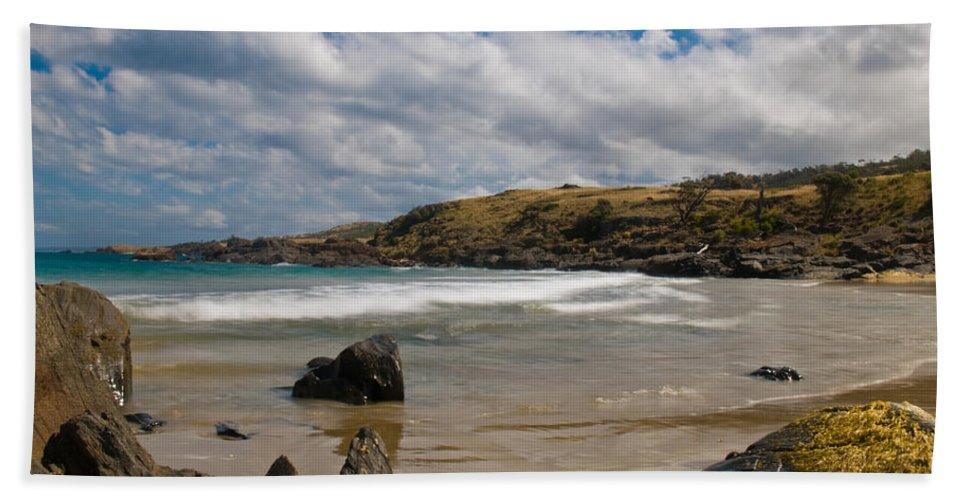 Bay Bath Sheet featuring the photograph Sea Landscape With Bay Beach by U Schade