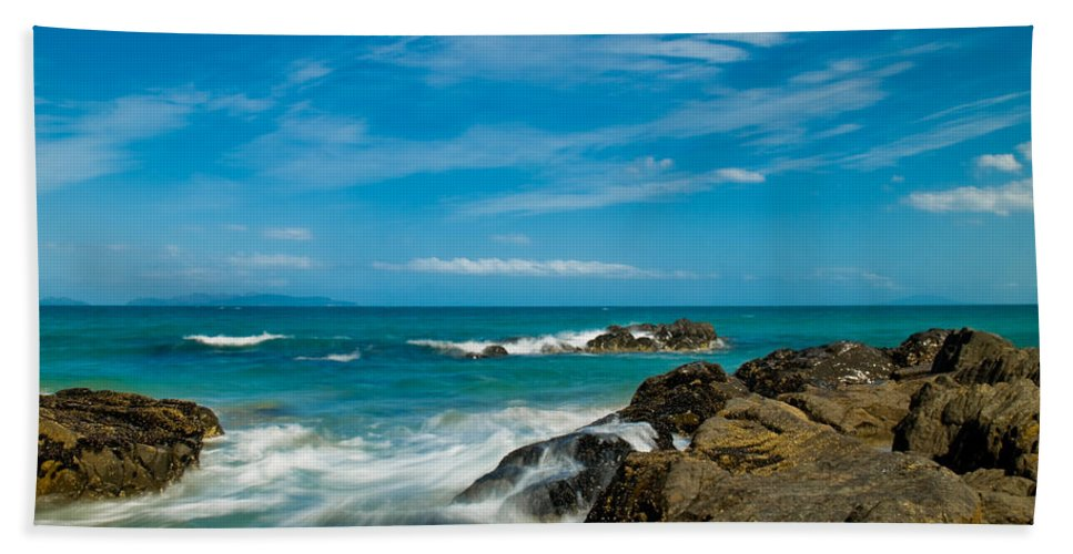 Bay Bath Sheet featuring the photograph Sea Landscape With Beach Coast Rocks And Blue Sky by U Schade