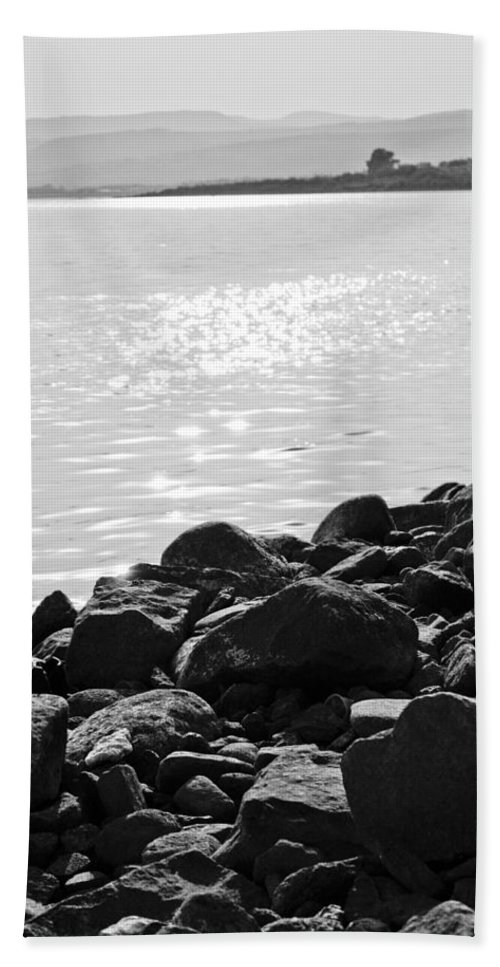 Lake Hand Towel featuring the photograph Sea Of Galilee In Black And White by Anthony Doudt