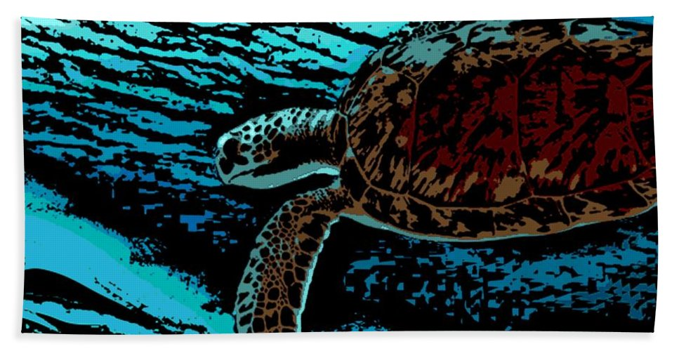 Sea Turtle Hand Towel featuring the painting Sea Turtle Swimming by George Pedro