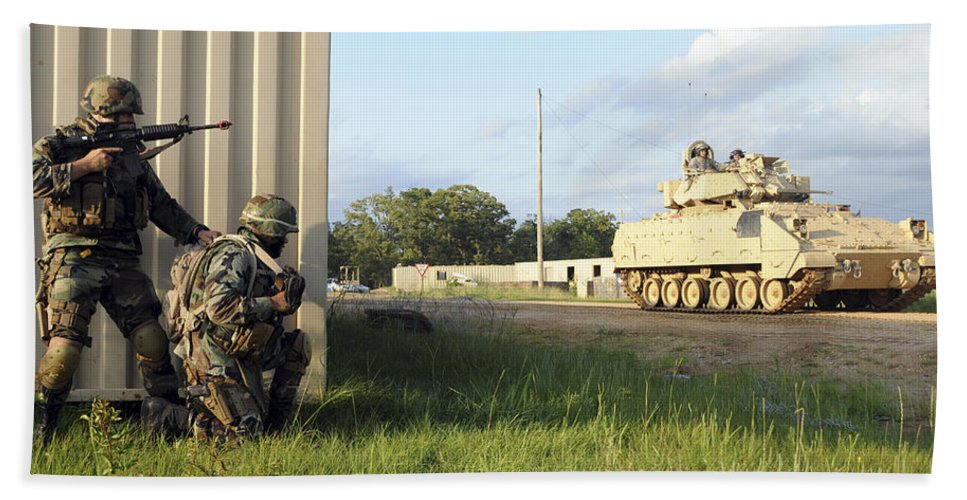 Camp Shelby Hand Towel featuring the photograph Seabees Prepare To Assault A Simulated by Stocktrek Images