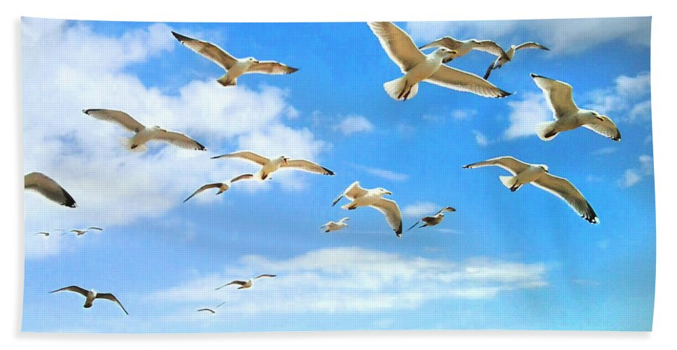 Sussex Hand Towel featuring the digital art Seagulls At Worthing Sussex by Heather Lennox