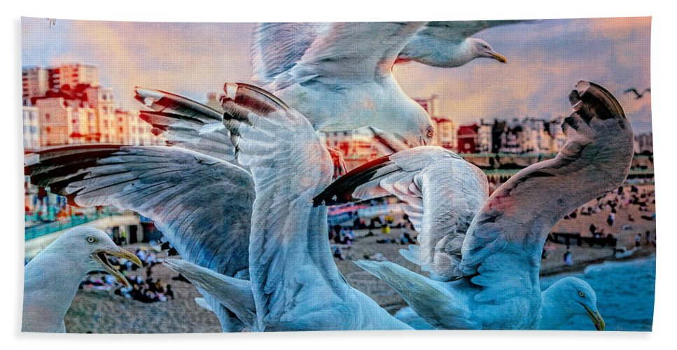 Gull Hand Towel featuring the photograph Seagulls On Brighton Pier by Chris Lord