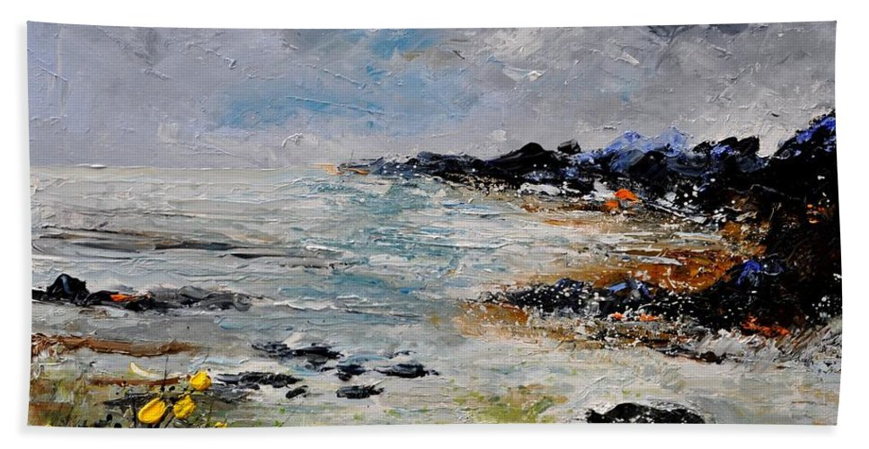 Seascape Bath Sheet featuring the painting Seascape 452160 by Pol Ledent