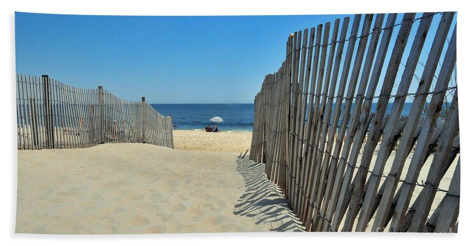 Beach Bath Sheet featuring the photograph seashore 100 Cape Henlopen Beach walkway by Terri Winkler
