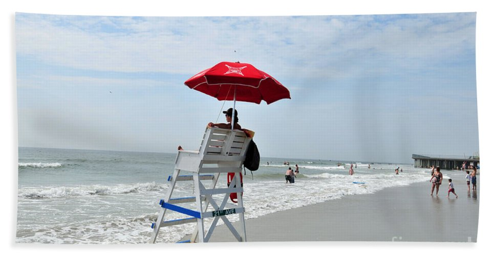 Beach Bath Sheet featuring the photograph seashore 76 Lifeguard on Avalon Jersey Shore Beach by Terri Winkler
