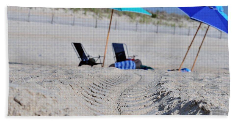 Beach Bath Sheet featuring the photograph seashore 82 Beach Chairs Beach Umbrella and Tire Treads in Sand by Terri Winkler