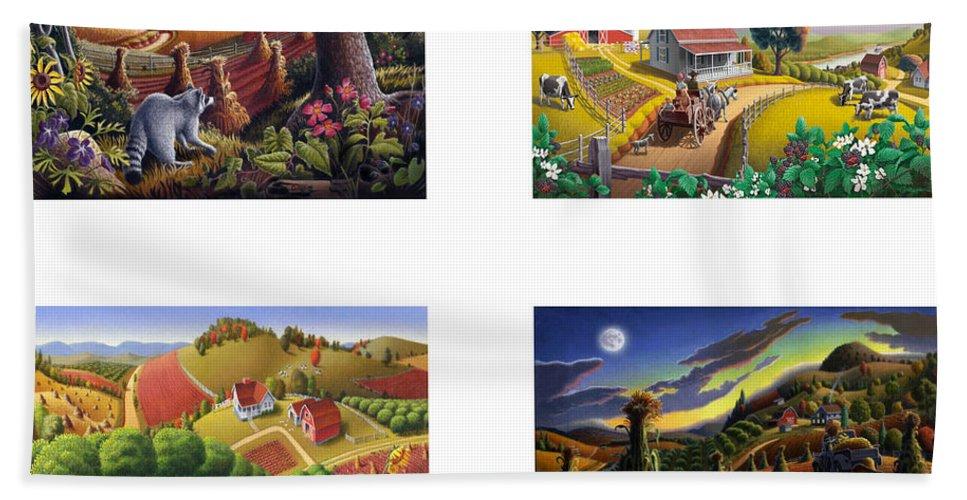 Folk Art Bath Sheet featuring the painting seasonal farm country folk art-set of 4 farms prints amricana American Americana print series by Walt Curlee