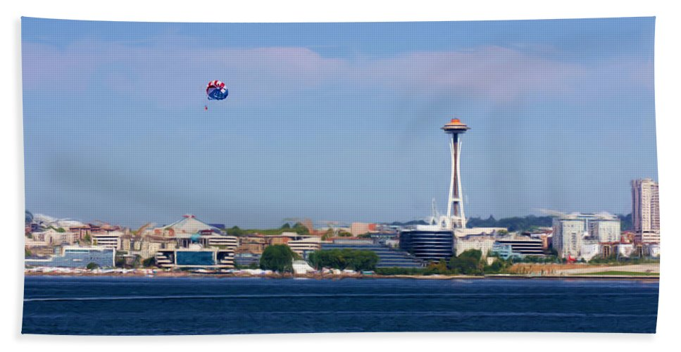 Parachute Hand Towel featuring the photograph Seattle - American City by Heidi Smith
