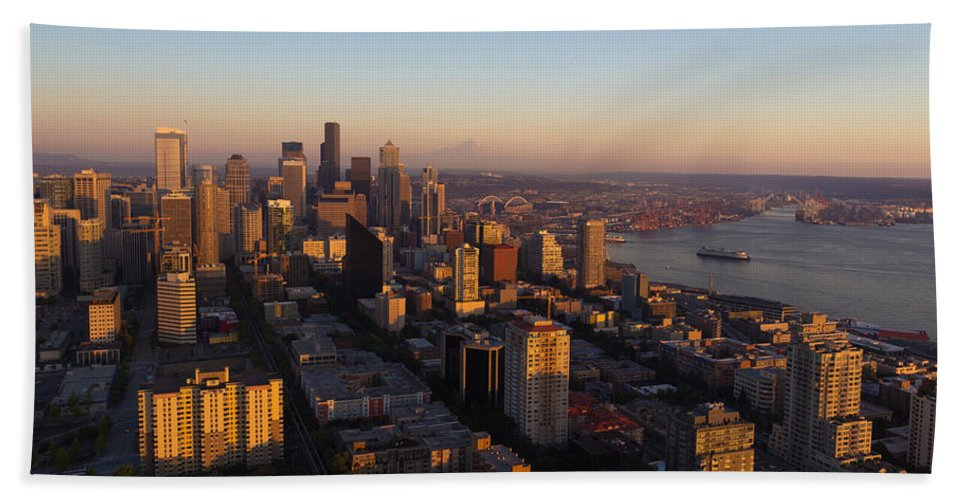 Bay Hand Towel featuring the photograph Seattle Blue Hour by Heidi Smith