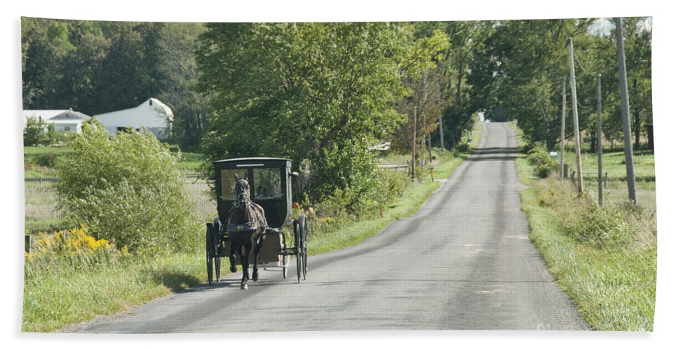 Amish Hand Towel featuring the photograph September Roads by David Arment
