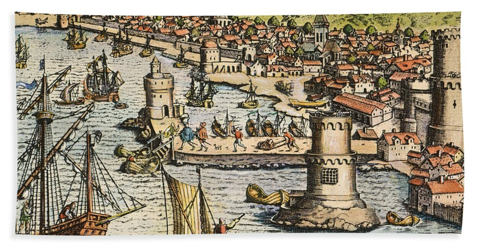 1594 Bath Sheet featuring the photograph Seville: Departure, 1594. /ndeparture For The New World From Sanlucar De Barrameda, The Port Of Seville, Spain. Line Engraving, 1594, By Theodor De Bry by Granger