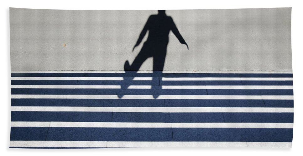 Shadow Hand Towel featuring the photograph Shadow Walking The Stairs by Mats Silvan