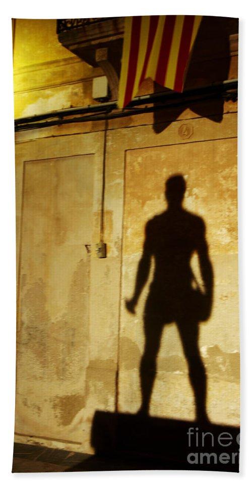 Felanitx Bath Sheet featuring the photograph Shadow Wall Statue by Agusti Pardo Rossello