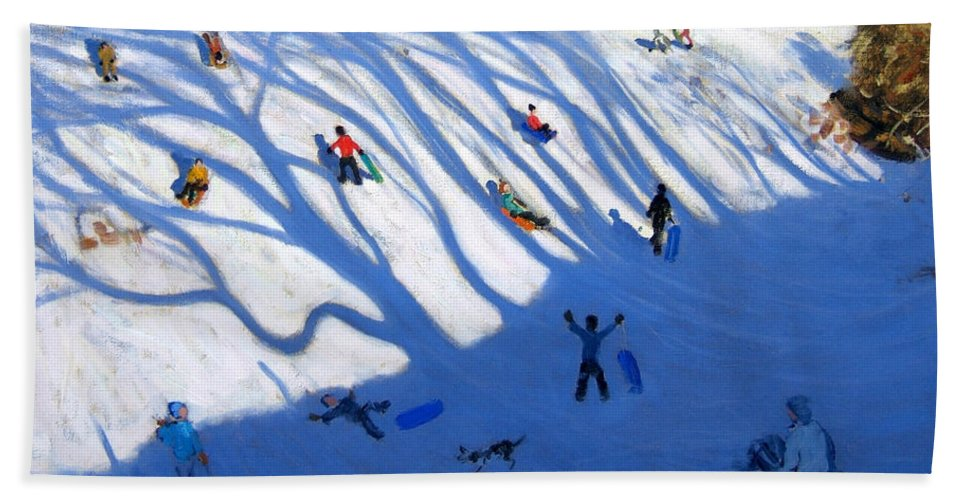 Sledge Bath Sheet featuring the painting Shandows On A Hill Monyash by Andrew Macara