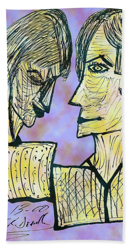 Digital Bath Sheet featuring the digital art She And He Pen And Ink 2000 Digital by Carl Deaville