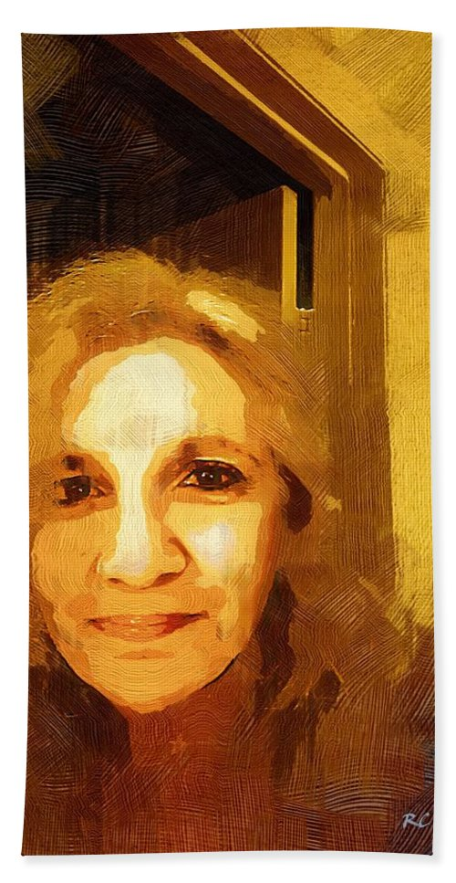 Contemporary Hand Towel featuring the painting She Smiles Sweetly by RC DeWinter