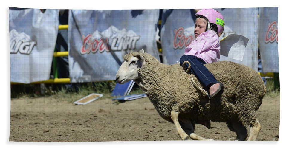 Rodeo Sheep Riding Bath Sheet featuring the photograph Rodeo Sheep Riding by Bob Christopher
