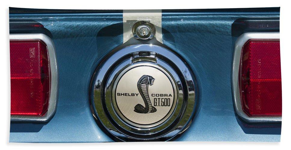 Shelby Cobra Gt 500 Hand Towel featuring the photograph Shelby Cobra Gt 500 Emblem by Jill Reger