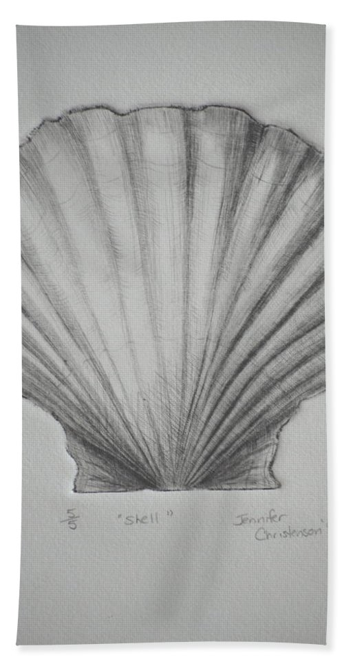 Printmaking Bath Sheet featuring the mixed media Shell by Jennifer Christenson